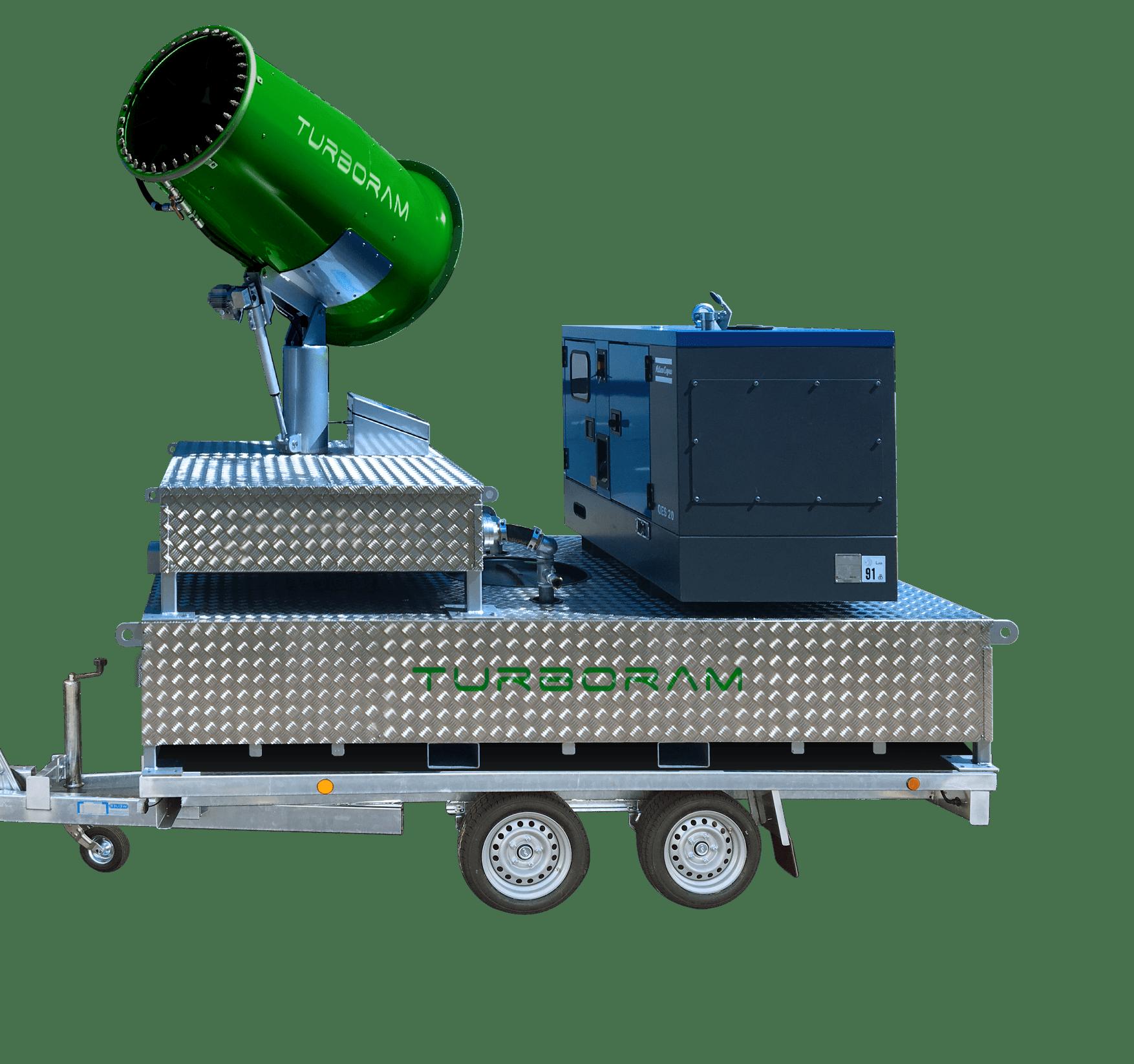 Le TURBORAM TRD50-SC est un brumisateur principalement destiné aux travaux de démolition de moyenne et grande hauteur, de dépollution, au BTP, aux mines et carrières et aux activités de recyclage. Avec cuve à eau